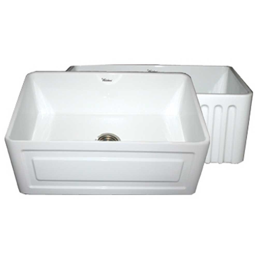 Whitehaus Collection Raised Panel Reversible Farmhaus Series Apron Front Fireclay 30 in. Single Basin Kitchen Sink in White