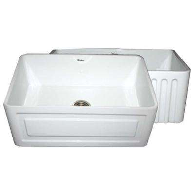 Raised Panel Reversible Farmhaus Series Apron Front Fireclay 30 in. Single Bowl Kitchen Sink in White