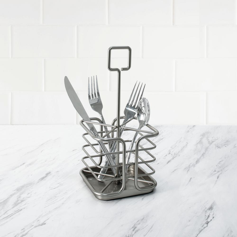 Euro Kitchen Flatware & Silverware Organizer Caddy, Satin Nickel