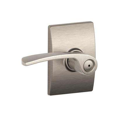 Merano Satin Nickel Privacy Bed/Bath Door Lever with Century Trim