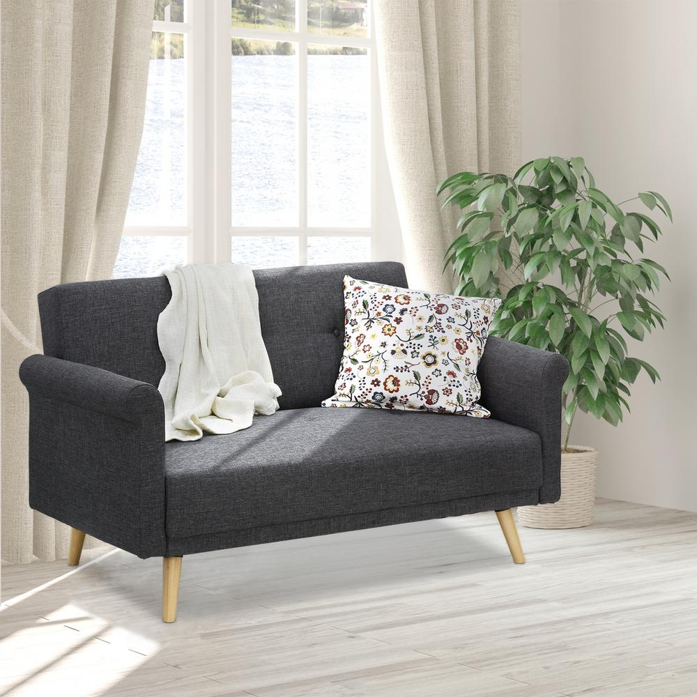 Furinno Retro Vintage Dark Gray Loveseat Sofa
