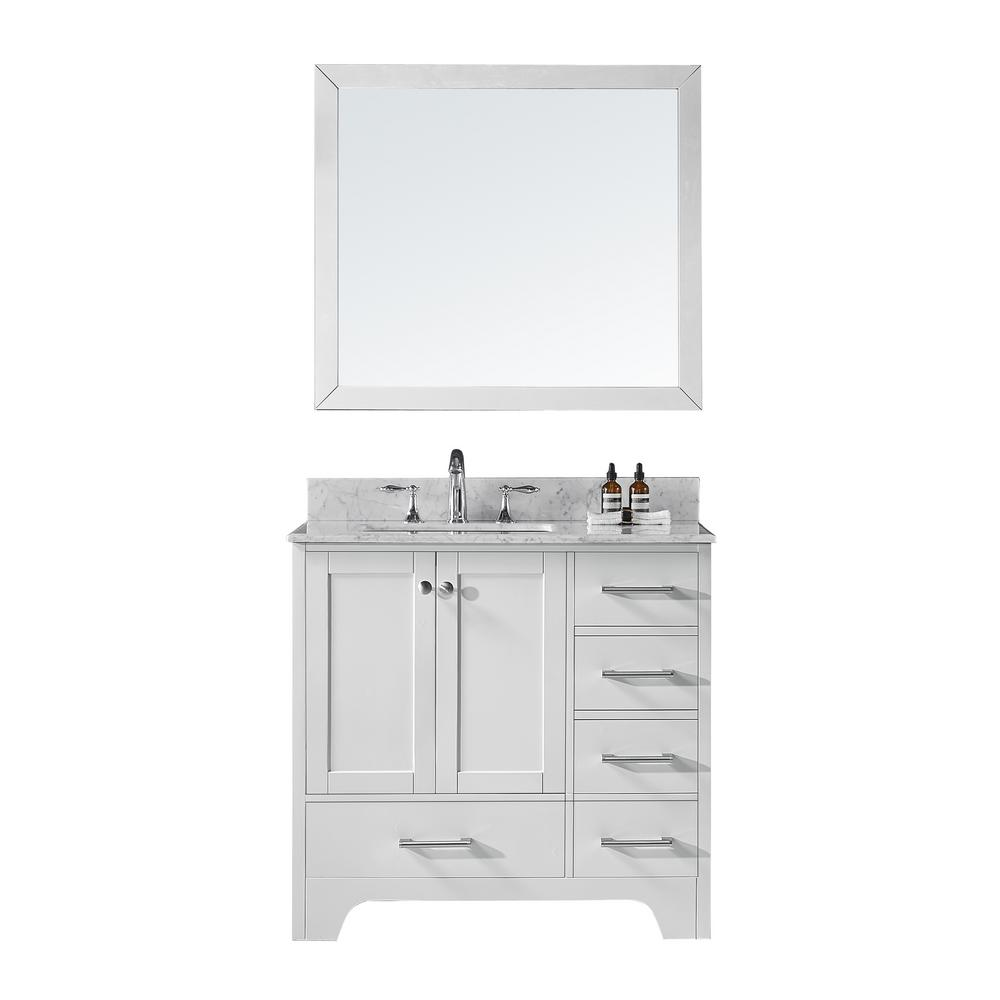 Terrific Exclusive Heritage 36 In D Single Sink Bathroom Vanity In White With Vanity Top In Carrara White Marble And Mirror Set Download Free Architecture Designs Pushbritishbridgeorg