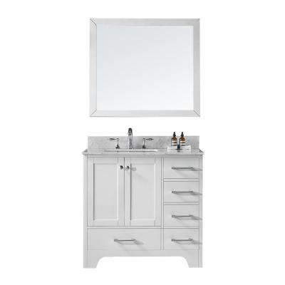 36 in. D Single Sink Bathroom Vanity in White with Vanity Top in Carrara White Marble and Mirror Set