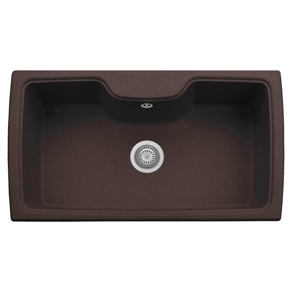 Harmony Drop-in Granite Composite 22 in. 1-Hole Single Basin Kitchen Sink in Brown