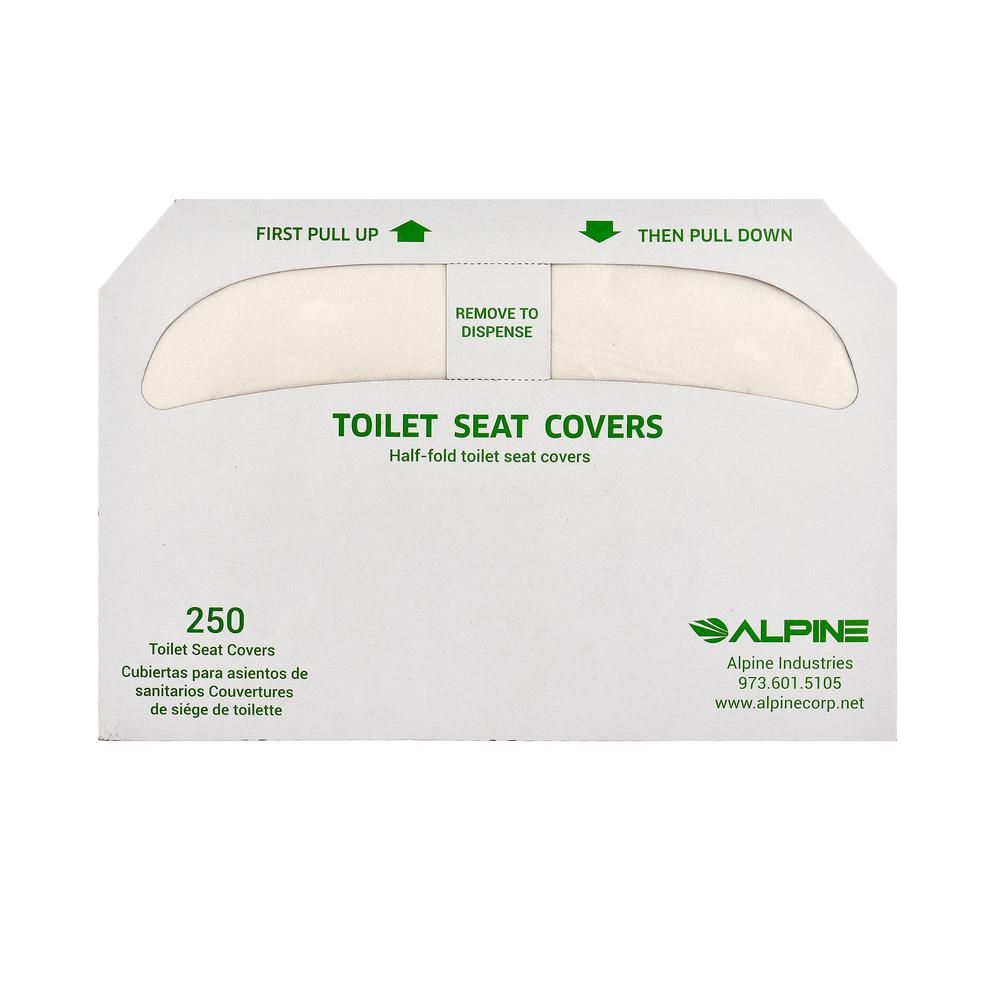 Alpine Industries White Flushable Disposable Half Fold Toilet Seat Covers 250 Sheets Per Pack 20 Packs Per Case P400 C The Home Depot