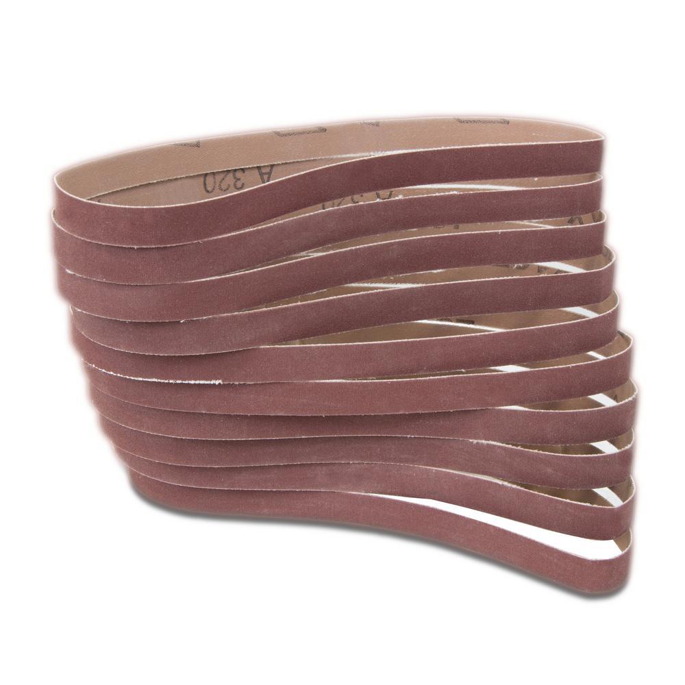 120-Grit 1/2 in. x 18 in. Sanding Belt Sandpaper (10-Pack)