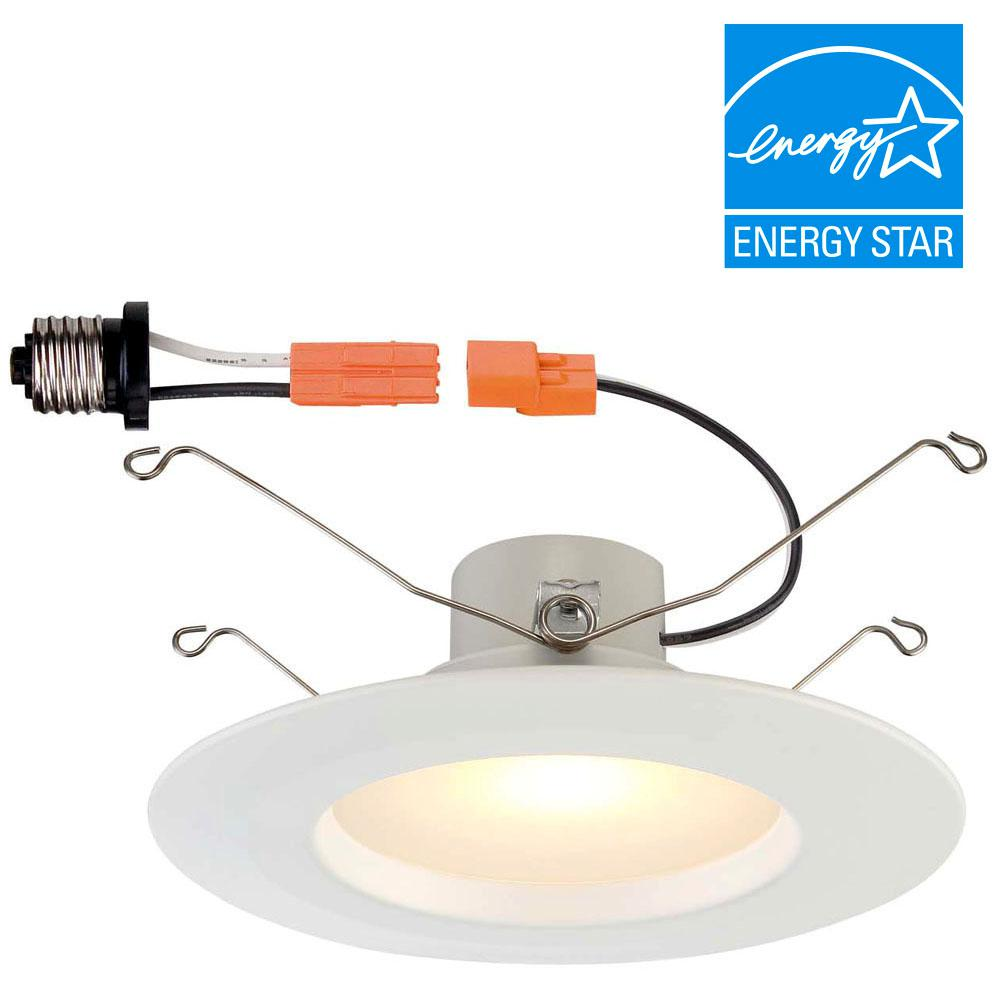 Commercial Kitchen Ceiling Lights: Commercial Electric 6 In. White Integrated LED Recessed