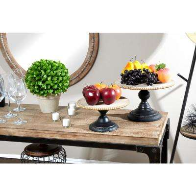 Natural Beige and Black Round Decorative Tray Stands (Set of 2)