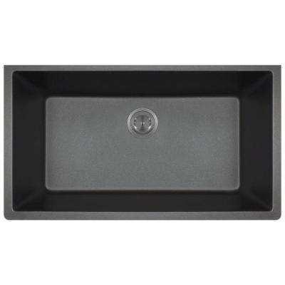 Undermount Granite Composite 32.625 in. 0-Hole Single Bowl Kitchen Sink in Black