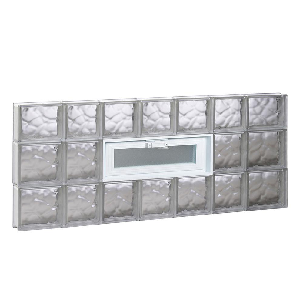 44.25 in. x 21.25 in. x 3.125 in. Frameless Wave Pattern Vented Glass Block Window
