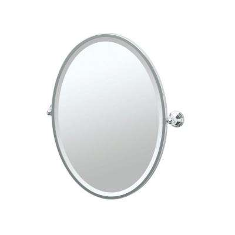 Charlotte 25 in. x 28 in. Framed Single Oval Mirror in Chrome