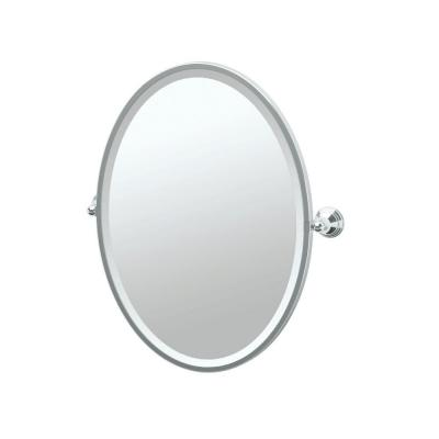 Charlotte 21 in. W x 28 in. H Framed Single Oval Mirror in Chrome