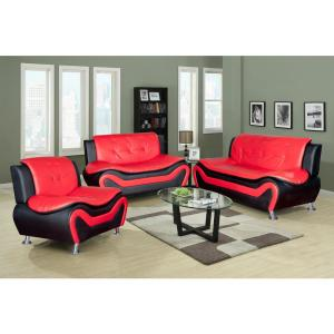 Star Home Living Red and Black Leather Three Piece Sofa Set ...