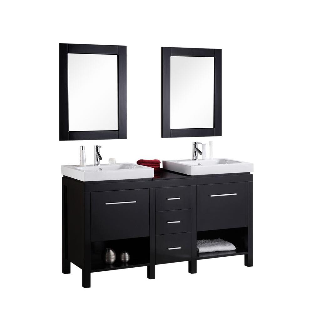 Design Element New York 60 in. W x 19 in. D Vanity in Espresso with Integrated Porcelain Vanity Top and Mirror in White