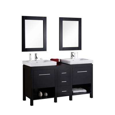New York 60 in. W x 19 in. D Vanity in Espresso with Integrated Porcelain Vanity Top and Mirror in White