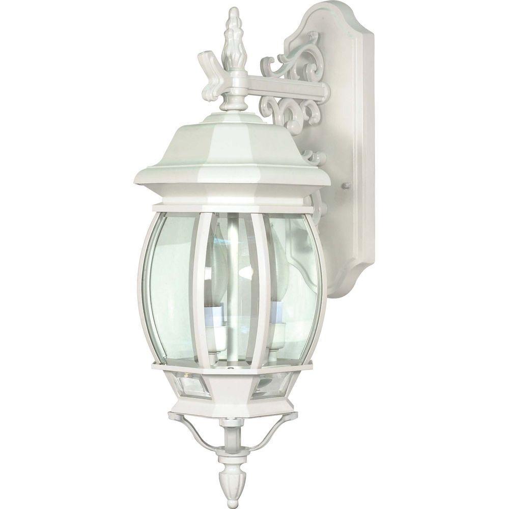 3-Light Outdoor White Wall Lantern