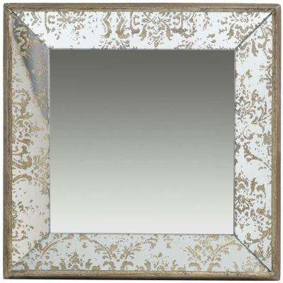 15.5 in. x 15.5 in. Decorative Mirror Tray in Rustic Brown