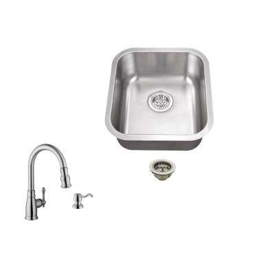 Undermount 16 in. 18-Gauge Stainless Steel Bar Sink in Brushed Stainless with Arc Kitchen Faucet