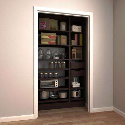 45 in. W x 15 in. D x 84 in. H Melamine Pantry Organizer Kit with Slide-Out Shelves in Mocha