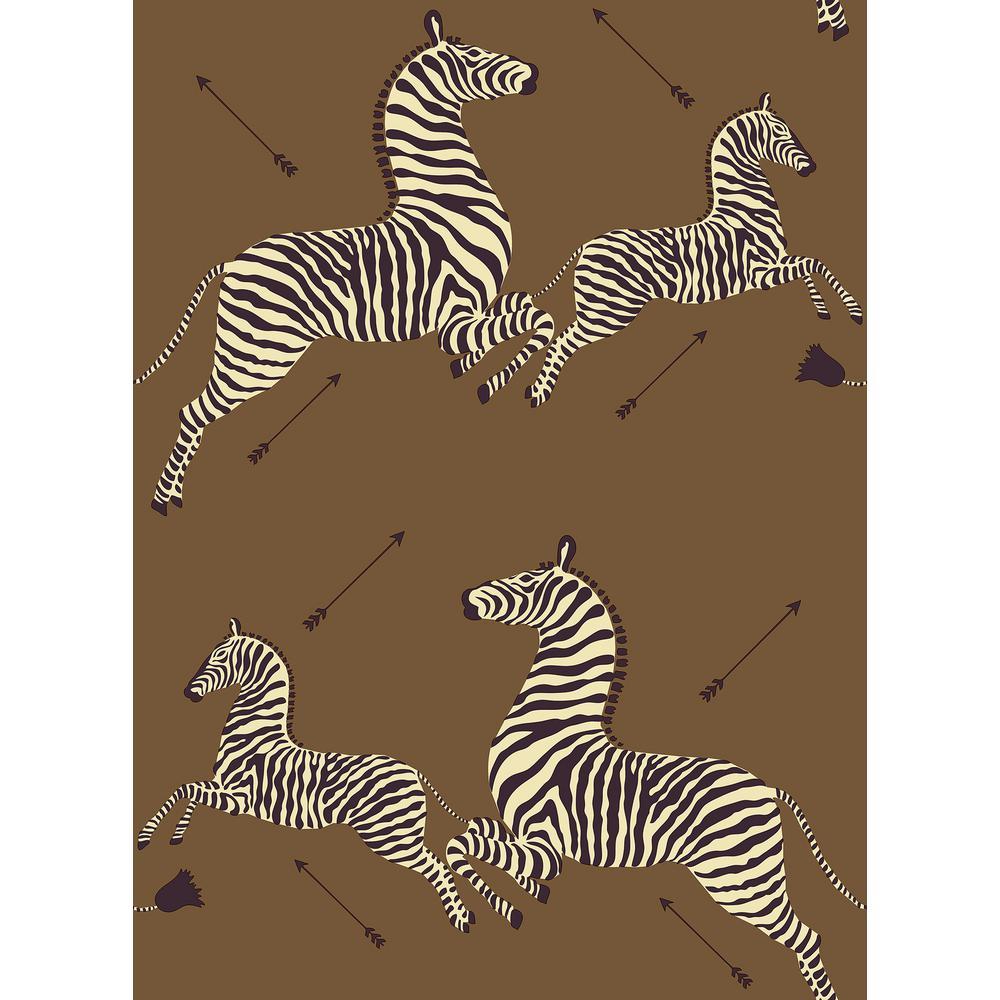 Safari Brown Zebra Safari Scalamandre Self Adhesive Wallpaper