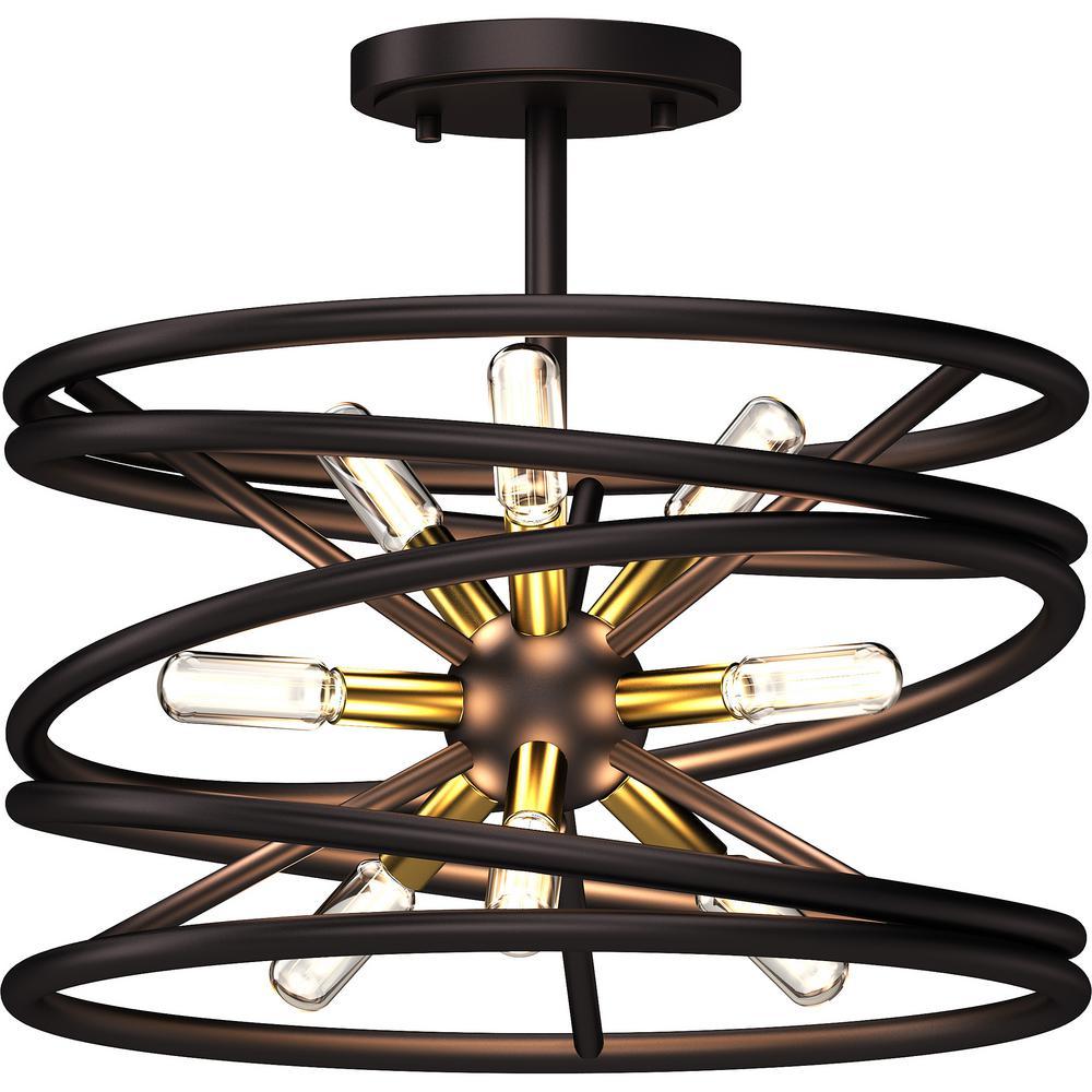16 in. W x 14.5 in. H 9-Light Indoor Antique Bronze Orbital Whirlwind Spiral Semi-Flush Mount Ceiling Light