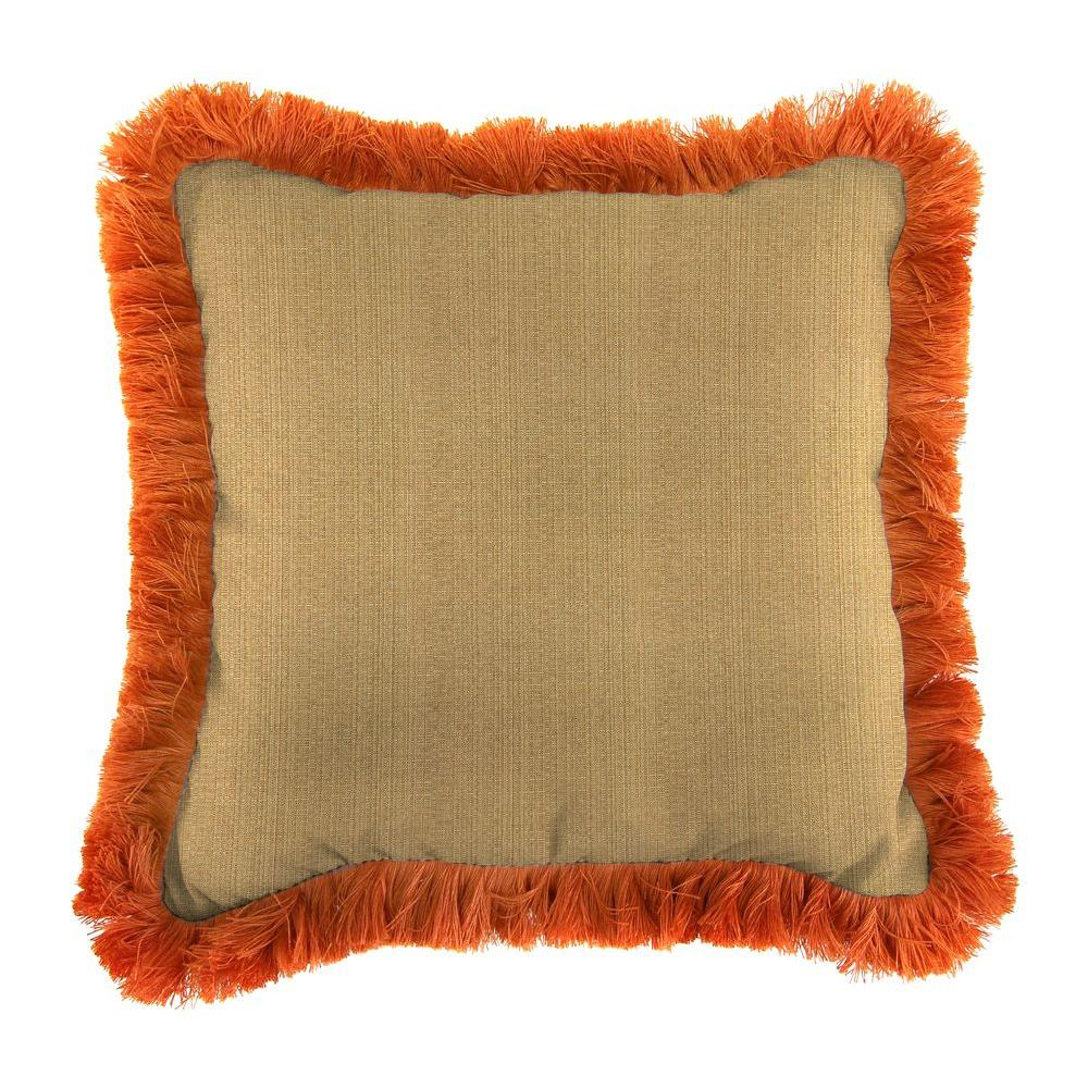 Jordan Manufacturing Sunbrella Linen Straw Square Outdoor Throw Pillow with Tuscan Fringe
