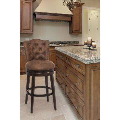 Edenwood 30 in. Chocolate Swivel Cushioned Bar Stool
