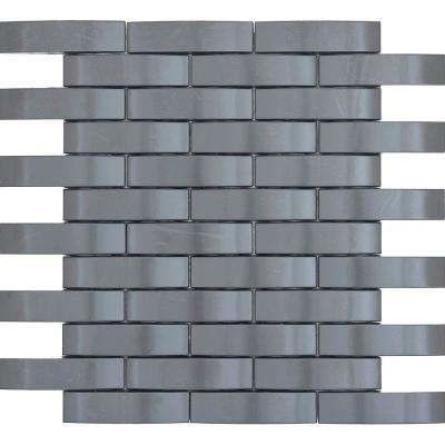 Gleam Graphite 12 in. x 12 in. Metal Products Mesh-Mounted Mosaic Tile (0.88 sq. ft.)