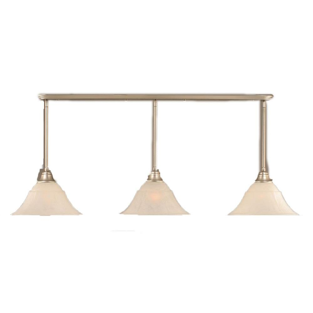 Filament Design Concord 3-Light Brushed Nickel Pendant with White Marble Glass