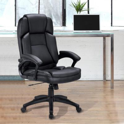 Black Thick Headrest PU Office Desk Ergonomic Swivel Executive Chair with Back Support