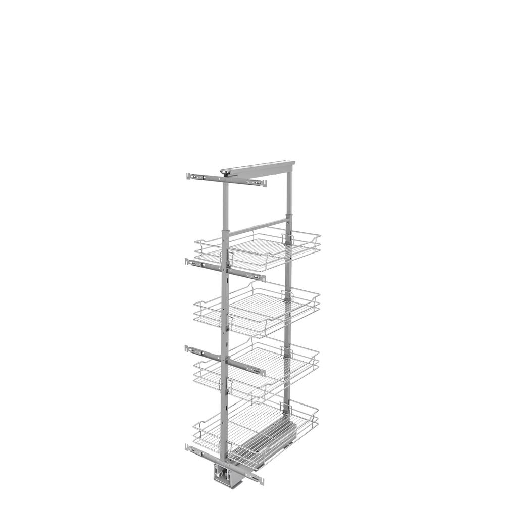 16 in. Chrome 4-Basket Pull-Out Pantry with Soft-Close Slides