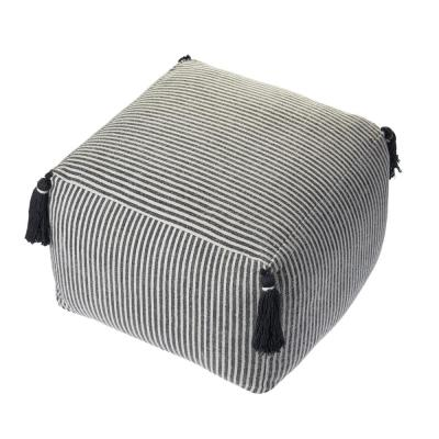 Striped Gray Tassels Pouf