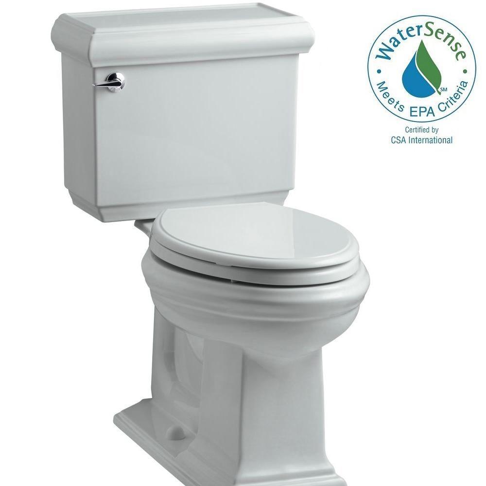 KOHLER Memoirs Classic 2-piece 1.28 GPF Single Flush Elongated Toilet with AquaPiston Flush Technology in Ice Grey