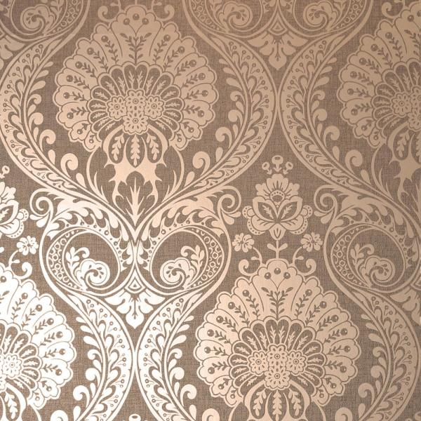 Luxe Damask Chocolate Rose Gold Wallpaper