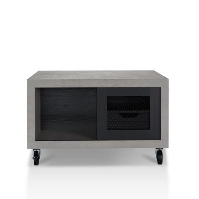 Santiago 32 in. Black Medium Square Wood Coffee Table with Drawers