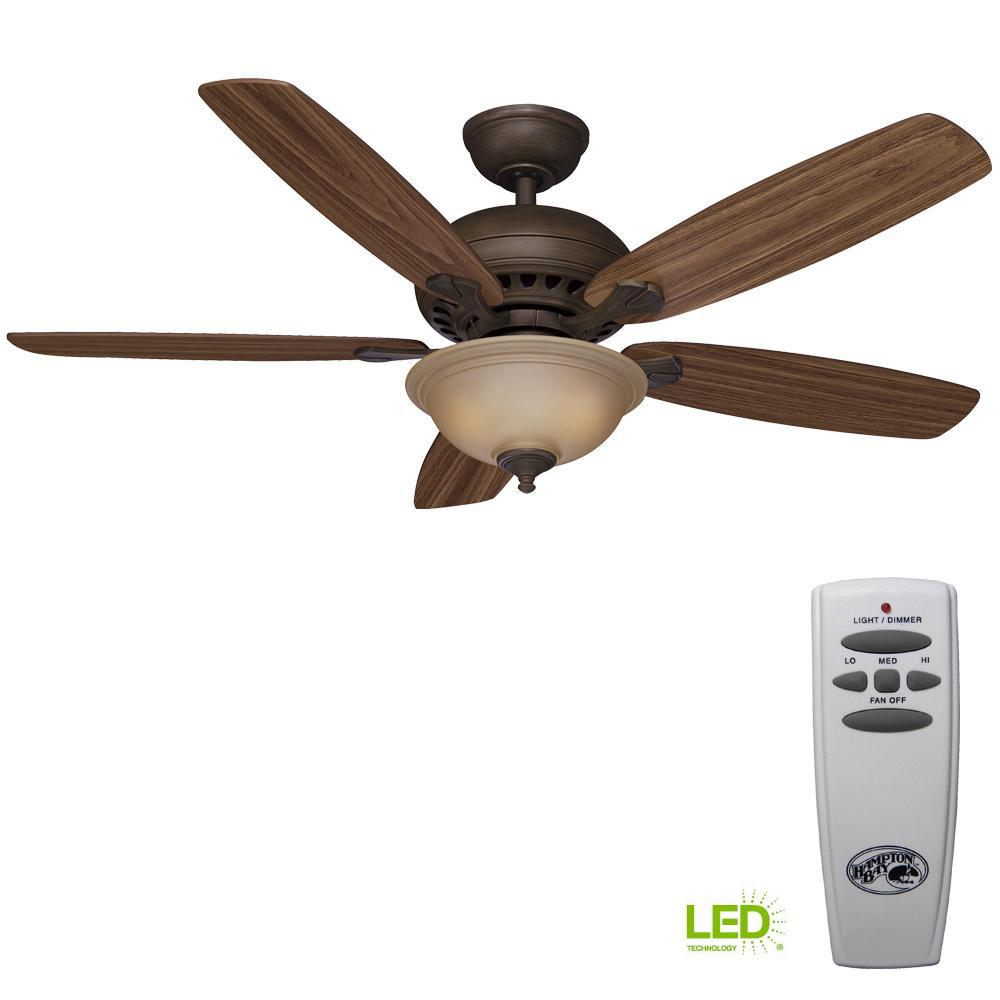 Southwind 52 in. LED Indoor Venetian Bronze Ceiling Fan with Light