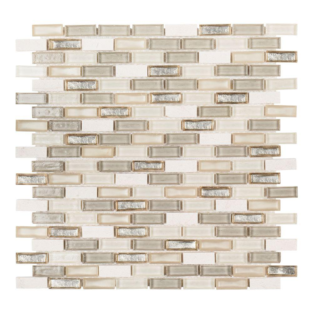 Jeffrey Court Afternoon Tea 11.5 in. x 12.25 in. x 6 mm Glass/Stone Mosaic Wall Tile