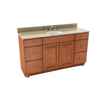 Charlottesville 61 in. Vanity in Cognac with Silestone Quartz Vanity Top in Quasar and Oval White Sink