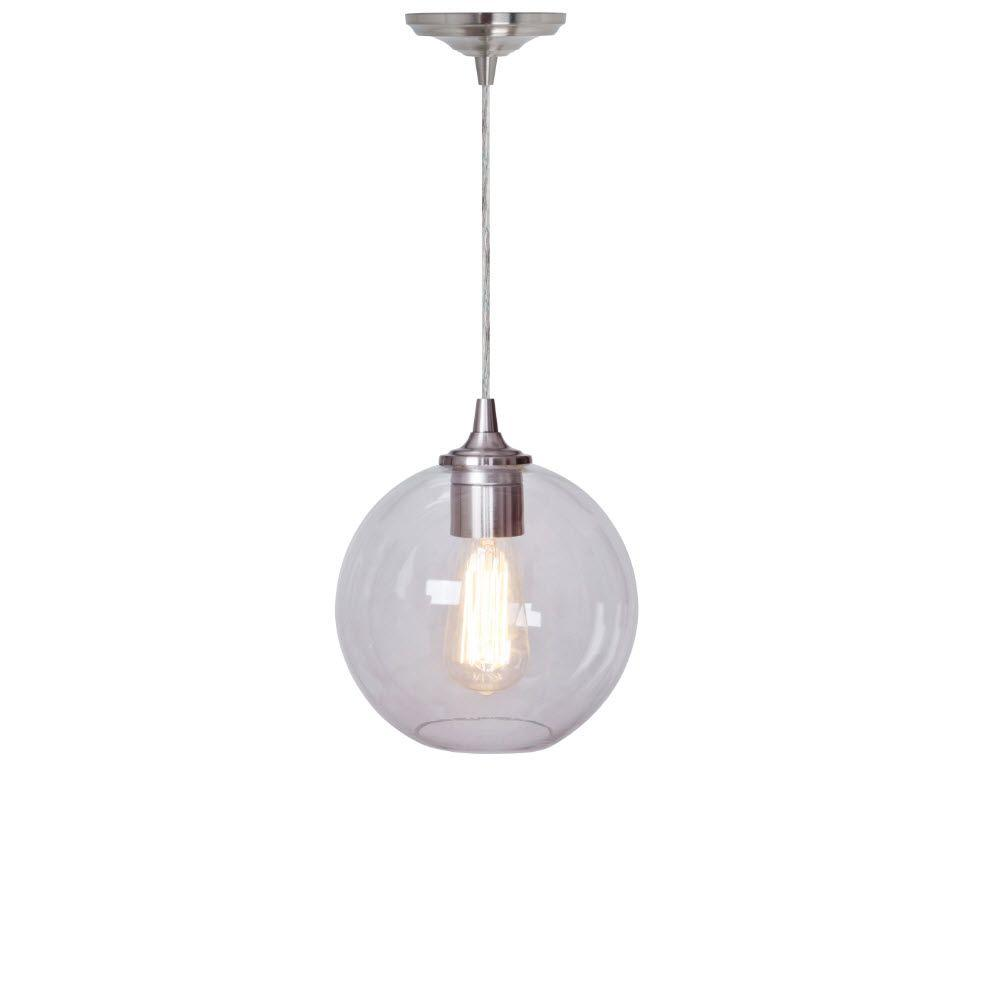 Home Decorators Collection Orb Clear and Nickel Ceiling Pendant