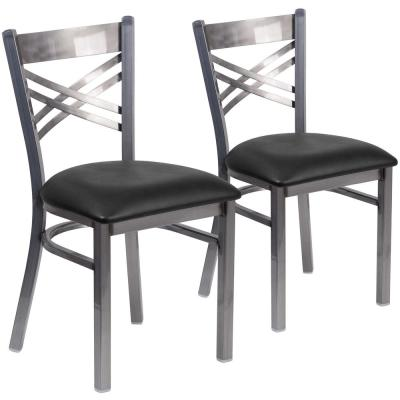 Black Vinyl Seat/Clear Coated Metal Frame Restaurant Chairs (Set of 2)
