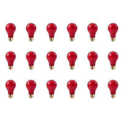 60-Watt A19 Ceramic Red Dimmable Incandescent Light Bulb (18-Pack)