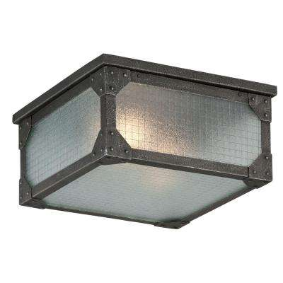 Hoboken 2-Light Aged Pewter Outdoor Flushmount
