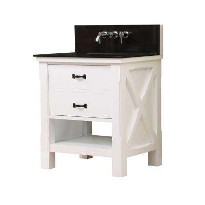 Xtraordinary Spa Premium 32 in. Vanity in White with Granite Vanity Top in Black with White Basin