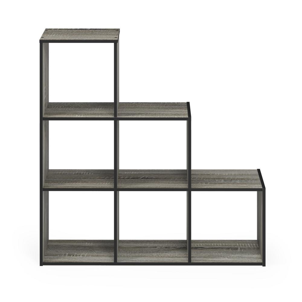 Pelli 35.87 in. French Oak Gray Wood 6-shelf Etagere Bookcase with Open Back