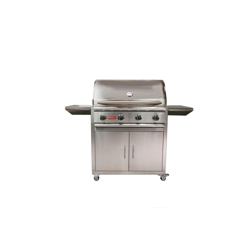 BULL - Stallion 4-Burner Cart Propane Grill in Stainless Steel
