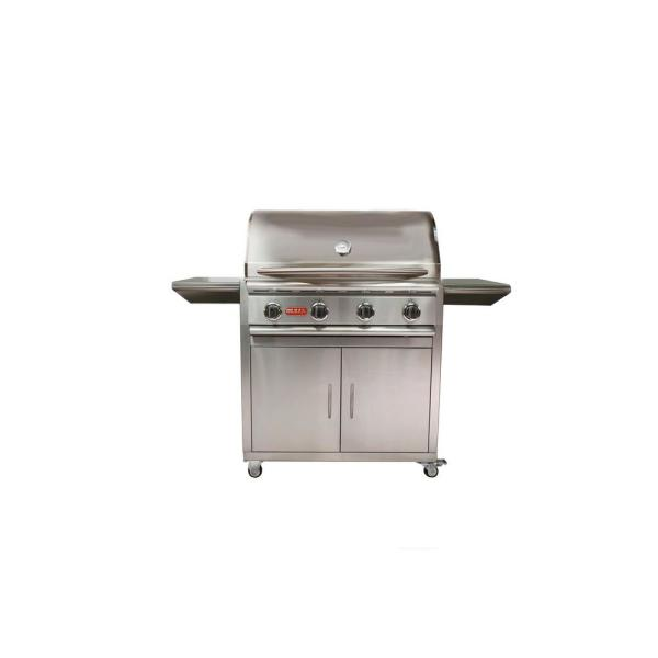 Stallion 4-Burner Cart Propane Grill in Stainless Steel
