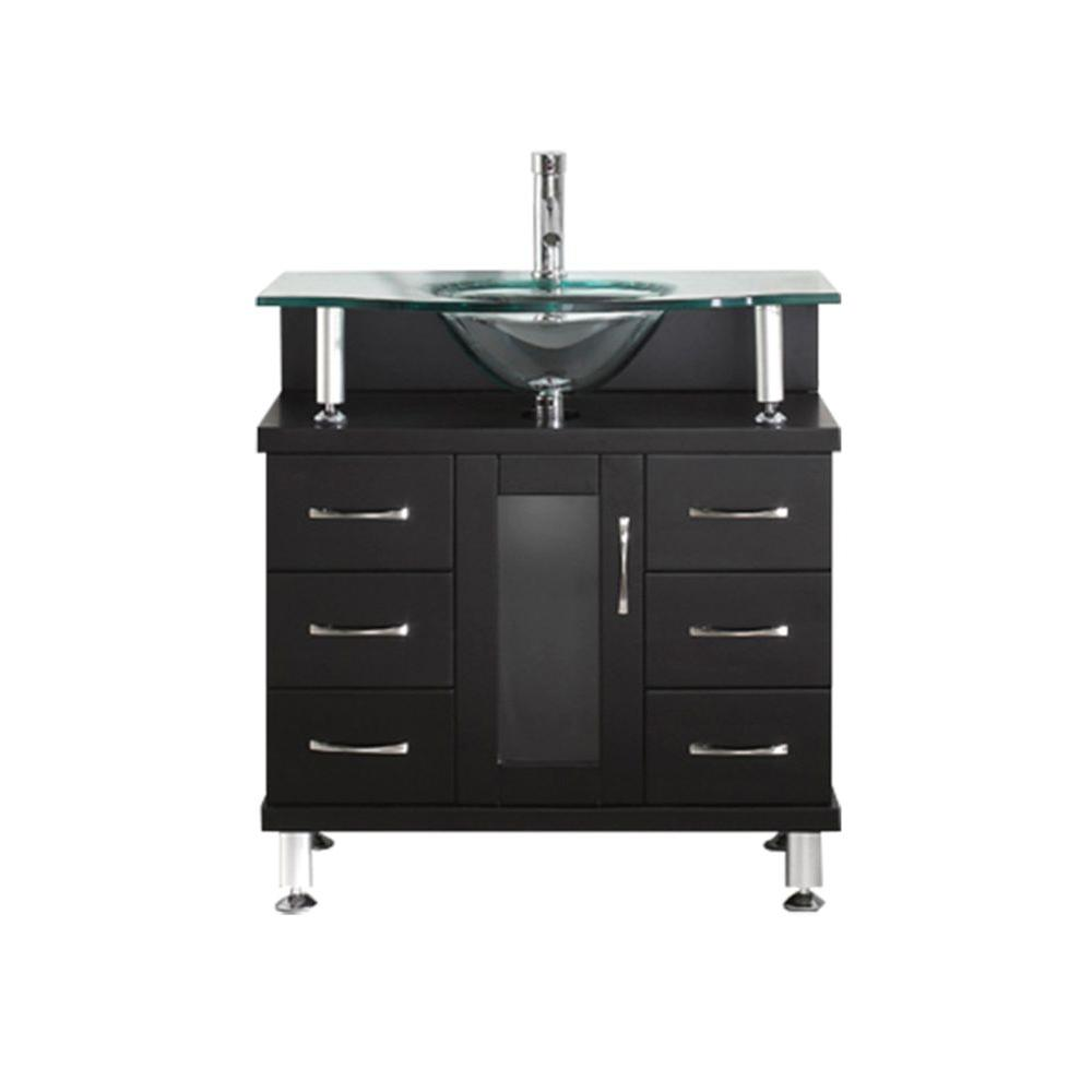 Virtu USA Vincente 32 in. Single Basin Vanity in Espresso with Glass Vanity Top in Aqua