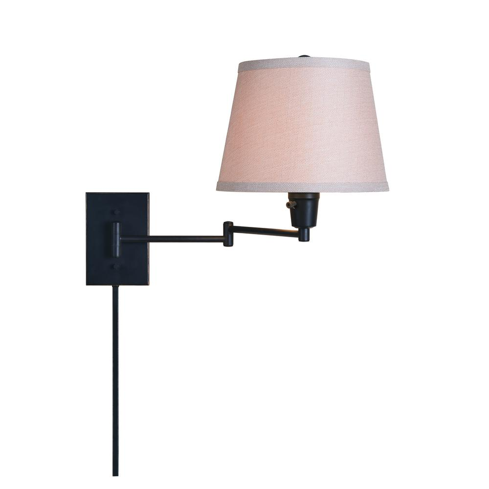 1 Light Oil Rubbed Bronze Swing Arm Plug In Wall Lamp With Fabric Shade