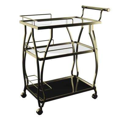 Subalpine Gold Bar Cart with 3-Tiered Mirrored Glass Tops