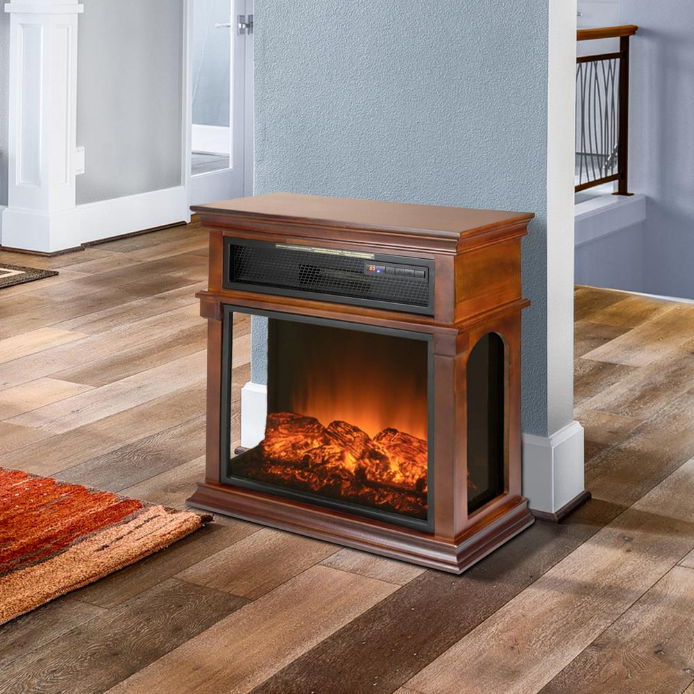 29 in. Freestanding Electric Fireplace Mantel Heater in W...